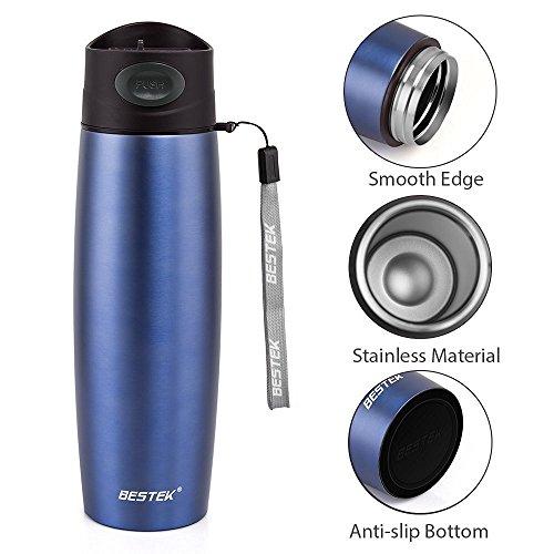 BESTEK Vaso Termico 500ml Tazas de Acero Inoxidable Frasco Aislamiento de Viaje para Café (Azul)