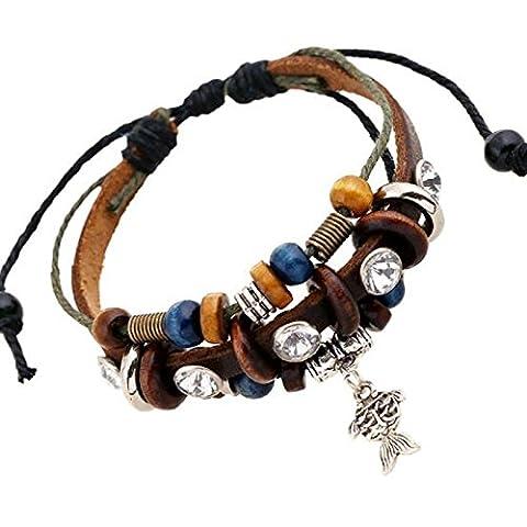Goldfish Vintage Armband mit Holz Perlen–Braun Leder Armband in Geschenkbox