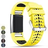 Feskio Fitbit Charge 2 Smartwatch Ersatz Band Strap, Luftloch Stil Weiches Silikon Sport Armband Wriststrap Armband für Fitbit Charge2 Fitness Smart Watch