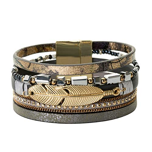 Armreif mit Kette, NEW Gold Alloy Feather Leaves Charm Leather Bracelets Handmade Multilayer Crystal Chain Bracelet Statement Wrap Jewelry black -