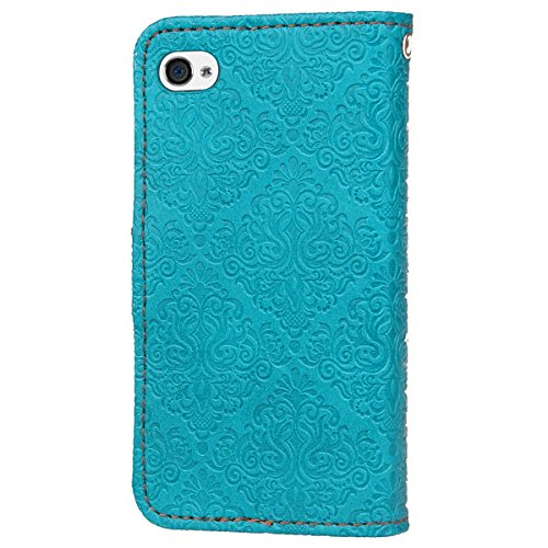 Custodia iPhone 4S,Case Cover per iPhone 4S, Ukayfe Luxury Puro Colore Modello Goffratura Murale Continental Cristallo 3D Design Bumper Slim Folio Protectiva Lussuosa Retro Custodia Cover [PU Leather] Murale Blu