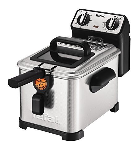 Tefal FR5101 Fritteuse Filtra Pro Inox and Design, Timer, wärmeisoliert, Clean-Oil-System, 2300 W, edelstahl / schwarz