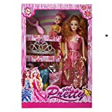 Caddle&toes Girl's Barbie Doll House Set Pink with Crown, Necklace, Slippers, 8 Sets
