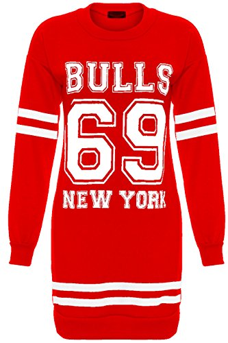 Pour Femme New York Brooklyn 98Bulls 69Grand Mini robe Mesdames Long pour Femme Taille 810121416182022 - Bulls 69 Red - Sweater Jumper Winter