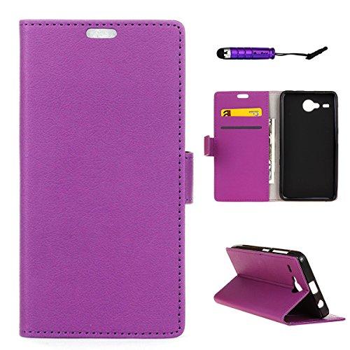 Acer Liquid Z520 Portemonnaie Tasche, Showyun Stilvolle, schlanke PU-Lederabdeckung Ständer und Kartenhalter Wallet Phone Cover Premium-Schutzhülle Kompatibel mit Acer Liquid Z520 Purple (Switch Custom Light)