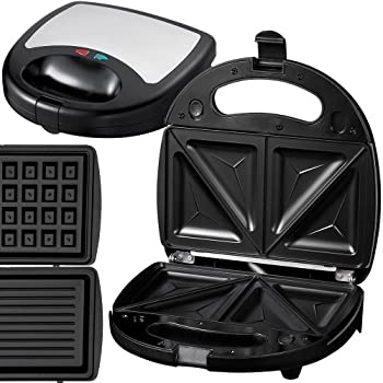 jago und sandwichmaker sandwichtoaster waffeleisen grill mit kontakt 750 w. Black Bedroom Furniture Sets. Home Design Ideas