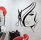 YCYLYZ Stickers muraux beauté Sexy Cheveux Salon de Coiffure Salon de beauté styliste Coiffeur Vinyle Autocollant Salon Mur Art Stickers muraux 43X31cm, Noir