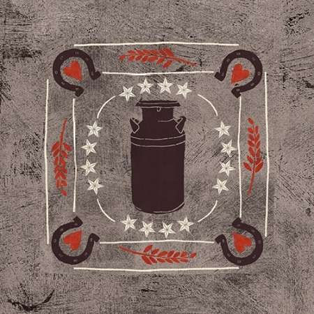 Feeling-at-home-Kunstdruck-Little-Red-Farm-Tile-II-cm43x43-Poster-fuer-Rahmen -