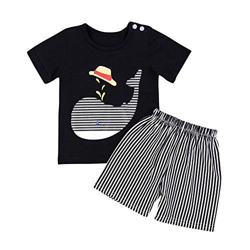 Baby Boy Sommerkleidung Set Dolphin Cartoon Printed Shirt Top und gestreiften kurzen Hosen 2 Stück Outfit für 6 Monate bis 5 Jahre - Fuß 4 Licht Wachsen