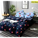 Ab Home Decor 350TC Microfiber Glace Cotton AC Comforter Set King Size Double Bed with 1 Flat bedsheet-90x100 inch and Two Pillow Covers II 4 pc Bedding Set-Multi-Color
