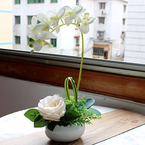JHDH2-la falena orchid fiore di seta nuovo campione cinese casa wc kitchen arts , Bianco fiore