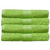 Naturemark 4er Frottee Set Handtücher 100% Baumwolle einfarbig oder als Farbset auswählbar in 500q/qm Qualität 50x100cm (Apfelgrün)