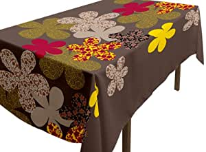 Soleil d'Ocre 817594 Nappe Antitaches Rectangulaire Imprimé Margot Polyester Chocolat 140 x 240 cm