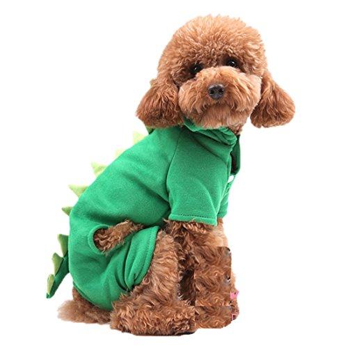 Süßer Dinosaurier-Hund Haustier-Kapuzenpulli Kleider Halloween-Hund Kostüm Plus Size Anzug Teddy Dressing up Party Kleidung (Kostüme Hund Dinosaurier)