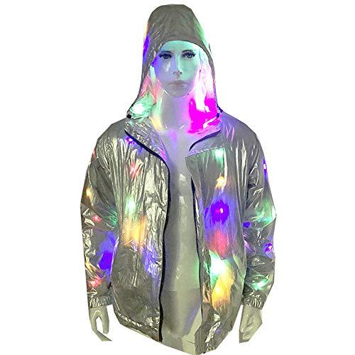 GUOCHU Mens Rave Light up Costume LED Hoodies Jacket Xmas Fancy Dress LED0013 (Rave Fancy Dress Kostüm)