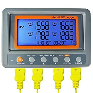 Gain Express AZ Instruments 4 Channel K Type Thermometer SD Card Data Logger Thermocouple Temperature + 2 Bead Type K-Thermocouple Probe (Main Unit 88598)