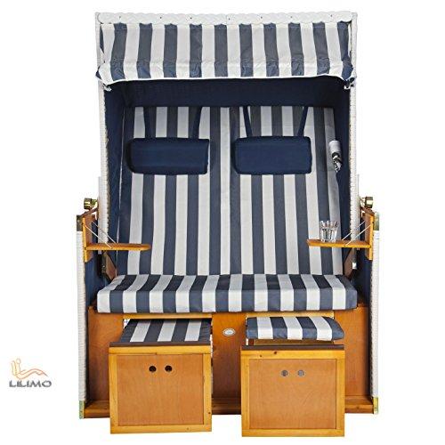 Strandkorb NORDSEE Deluxe BLE blau-weiss, Geflecht weiß, fertig montiert, LILIMO ® 4