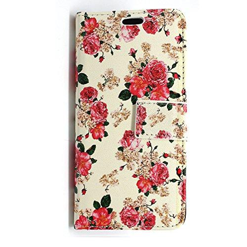 GSDSTYLEYOURMOBILE SCHUTZHÜLLE FÜR APPLE IPHONE 5C, MOTIV: VERSCHIEDENE KLAPPHÜLLE MIT MAGNETVERSCHLUSS AUS PU-LEDER, INKL. STYLUS PEN, Daisy Flower on Black Diamond, MOBILE Roses on White Book