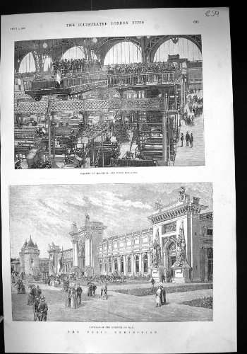 La Copie Antique de la Galerie 1889 d'Exposition de Paris Usine Ponts Roulants Pavili… par original old antique victorian print