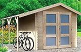 Alpholz Gartenhaus YPERN aus Fichten-Holz | Gartenhütte mit Dachpappe | Geräteschuppen naturbelassen Ohne Farbbehandlung (240 x 270cm)