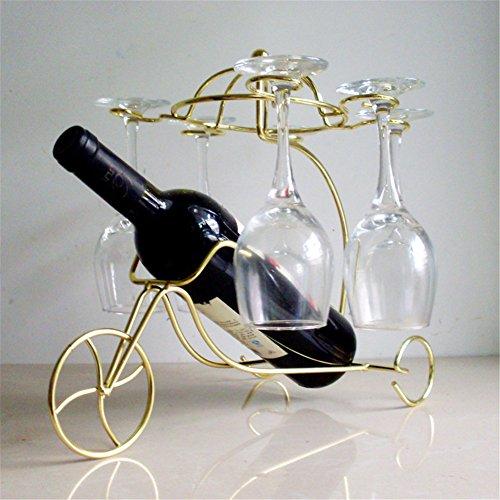 Vigvog parigino Style bronze-colored triciclo porta bottiglia di vino in vetro casa cucina soggiorno sala da pranzo Decor 33cm *24cm *31cm, Gold, 33*24*31cm