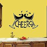 JXCDNB Cup Adesivo Martini Cheers Bar Decorazioni per Interni Lettere di caffè Bevande Vinile Adesivo per vetri in Vetro Arte murale Rimovibile 74x119cm