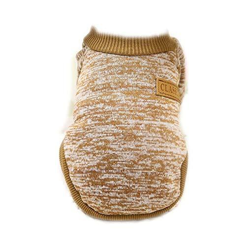 Deaman Latzhose Hundepullover probeninmappx Haustier Hund Katze Winter Pullover Kleidung Stricken Häkeln Kleidung Mantel Bekleidung Kostüme, Khaki, S-Größe Atmungsaktiv - Häkeln Kostüm