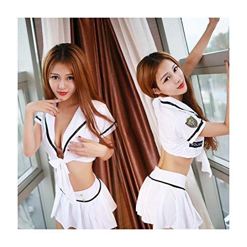 FJLOKE& Woman Girls Sexy Outfits Sailor School Adult Uniform Costumes Cosplay Lingeries White Regular:One Size (School Dress Girl Outfits Up)