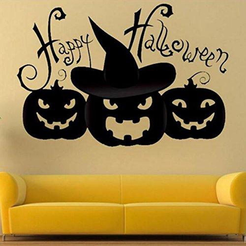 TOPmountain PVC Halloween furchtsam Wandabziehbild Abnehmbare Kunst Kat Ghost Kürbis Home Room Party Aufkleber Dekoration