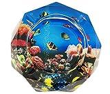 Schönes buntes Muster Transparent Octangle Form Zigarre Zigarette Ø 9,9cm Kristall Glas Aschenbecher mit 4Rillen Home Office Tabletop Schreibtisch Dekoration Vatertag Geschenk (Ocean World)
