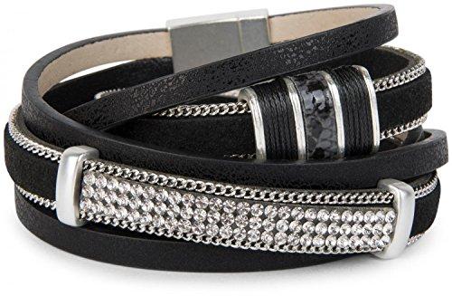 styleBREAKER Vintage Wickelarmband mit Strass, Gliederkette und Magnetverschluss, 3-Reihig, Armband, Damen 05040024, Farbe:Antik-Schwarz