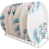 Golden Fish Microwave Safe & Unbreakable Round Full Plates (Set of 6) (GF-22-Multi)