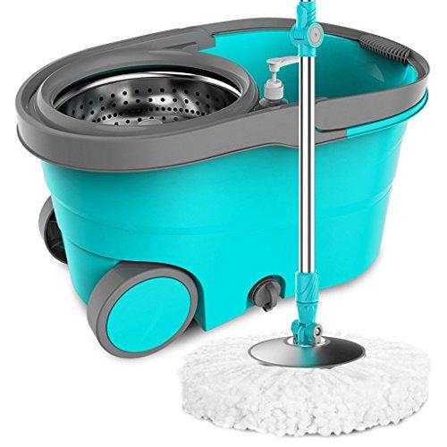 LIUFS-rotierender Mopp Rotary Mop Bucket Doppelantrieb Automatischer Handdruck (Farbe : Blau) -