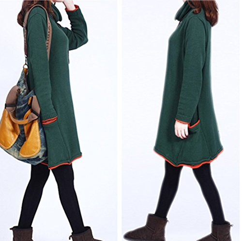 Femmes à manches longues pour femme tOP pull jUMPER Vert - Vert