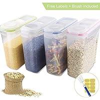APLANET Recipiente de almacenamiento de cereales – grandes latas selladas 4L (136oz) en 4 colores, con pegatinas y cepillos, para cereales, harina, café, comida para mascotas, etc.