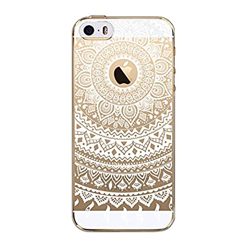 iPhone SE / 5 / 5S Case Clear, UCMDA Ultra Slim Soft TPU Silicone Back Rubber Bumper Protector Cover Case for iPhone SE / 5 / 5S-White Tribal Mandala