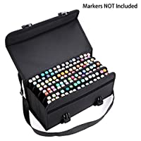 BTSKY 120 Slots Large Capacity Multi-Layer Canvas Marker Case with Shoulder Strap for for Primascolor Markers and Copic Sketch Markers, Lipstick Storage Bag (Markers Not Included) (Black)