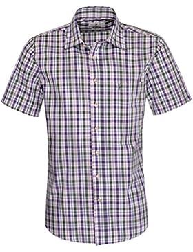 Almsach Kurzarm Trachtenhemd August Regular Fit zweifarbig in Lila und Dunkelgrün inklusive Volksfestfinder