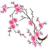 QUMAO Toppa Termoadesiva Applique di Fiore Prugna rosa per Cucito Rifiniture Abbellimenti Badge Plum Flower Embroidery Patch Sew
