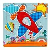 Routefuture Jouet éducatif pour Enfants Pas Cher, 16 pièces Puzzles avec Cadre Avion Puzzles en Bois, Cadeau d'anniversaire Educatif pour Fille et Garçon de 1 2 3 Ans et Plus