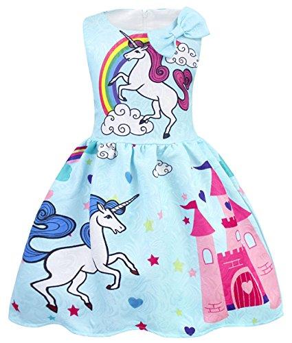 AmzBarley Girls Unicorn Dress Princess Sleeveless Evening Party Dresses for Kids Holiday Birthday Dressing up Childs Unicorns Rainbow Outfit Clothes