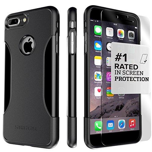 Funda iPhone 7 Plus, (Negro) Kit Funda Protectora SaharaCase con [Protector de Pantalla de Vidrio Templado ZeroDamage] Fuerte Protección Antideslizante [Cubierta Anti-golpes] Fino y Elegante