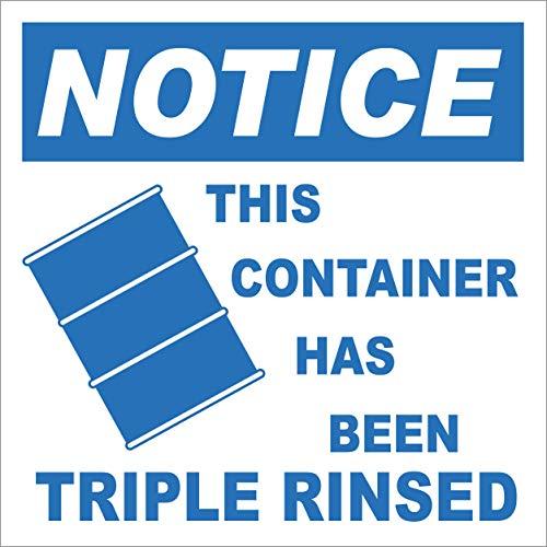 INDIGOS UG - Aufkleber - Sicherheit - Warnung - Container Has Been Triple Rinsed Label 152.4 mmx152.4 mm - Büro - Firma - Schule