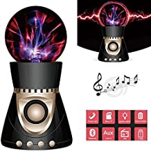 LED Touch Magic Ball Light, KINGCOO inalámbrico 3d estéreo Subwoofer creatividad Lightning Ball música Bluetooth altavoz para ordenador portátil/PC/teléfono apoyo FM TF (negro)