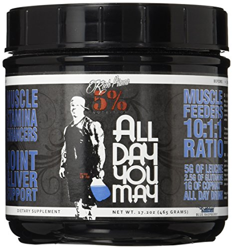 5% Nutrition - Rich Piana All Day you May (30 serv) Blue Raspberry er Pack Ohne Pfand, 465 g -