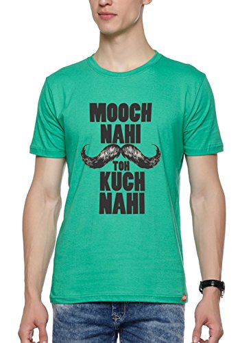 WYO Mens Graphic Printed T-Shirt ( Mooch Nahi Toh,Green,XX-Large )