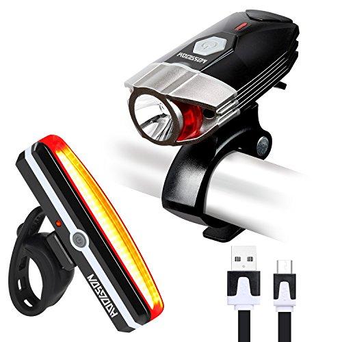 Le Set De Feux Rechargeables Pour Vélo USB HODGSON, Feu Avant Pour Vélo Super Lumineux à 380 Lumens et Set De Feux Arrière LED Pour Vélo, Anti-éclaboussures et Facile d'installation et De Désinstallation, Pour Une Sécurité Optimale