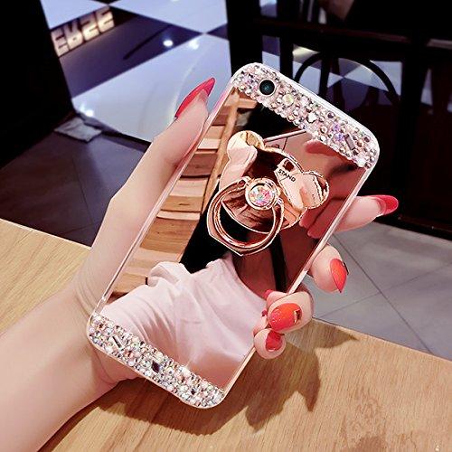 iPhone 7 Custodia, iPhone 7 Cover, iPhone 7 4.7 Custodia Cover, JAWSEU Moda Lusso Specchio Riflessione Scintilla Scintillio Diamante Bling Glitter Custodia Cover per iPhone 7 Ultra Sottile Anti-Graffi Orso Oro Rosa