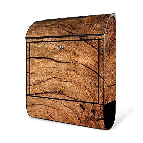 banjado - Schwarzer Design Briefkasten Zeitgsfach 38x42x11cm Wandbriefkasten mit Motiv Trockenes Holz, Briefkasten schwarz ohne Standfuß
