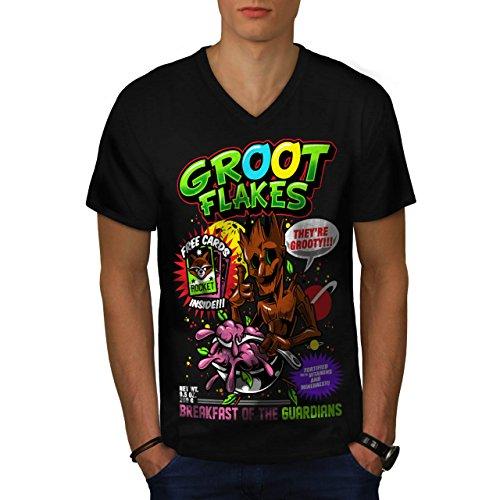 Weiblich Kostüm Groot (Groot Flakes Comic Müsli Held Herren M V-Ausschnitt T-shirt |)